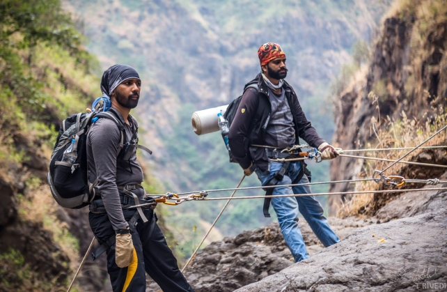 Vinayak and Jehangir while rapelling